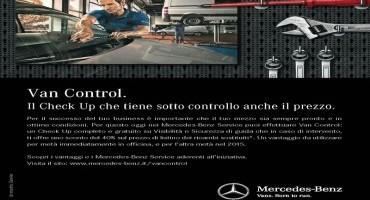 """Mercedes-Benz: con la campagna """"Van Control, """"fino al 31 Gennaio check up completo e gratuito"""