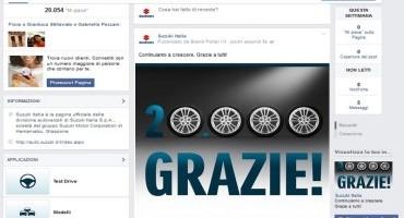 """Suzuki Auto Italia, pagina Facebook: giunti a 20.000 """"Fans"""""""
