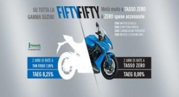 """Salta in sella con la promozione """"fifty fifty"""" di Suzuki: meta' moto a tasso zero"""