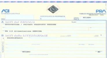 Documento unico di circolazione, pronto il decreto. Addio al Pra