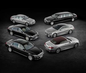 Mercedes-Benz S-Klasse Familie: S-Klasse mit normalen Radstand, S-Klasse AMG 63 langer Radstand, Mercedes-Maybach S-Klasse, Mercedes-Maybach S 600 Pullman, S-Klasse Coupé und S-Klasse Cabrio