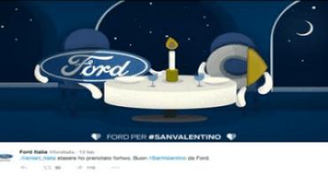 Twitter attribuisce a Ford Italia il premio #Poweredbytweets per la campagna social di San Valentino