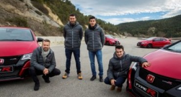 Marc Marquez, Dani Pedrosa, Toni Bou and Tiago Monteiro at the wheel of the new Honda Civic Type R