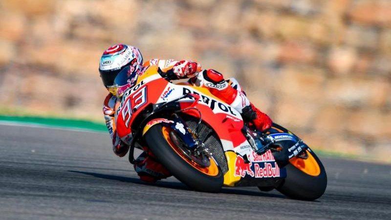 MotoGP, Marquez chiude al comando il Venerdì di Aragon